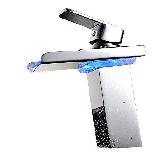 Lonfenner Wasserhahn LED Wasserfall Waschbecken Wasserhahn-Stil kupfernen Becken Wasserhahn mit warmen und kalten Lampen Wash Waschbecken Wasserhahn , Chrome (Wasserhahn Motion Waschbecken)