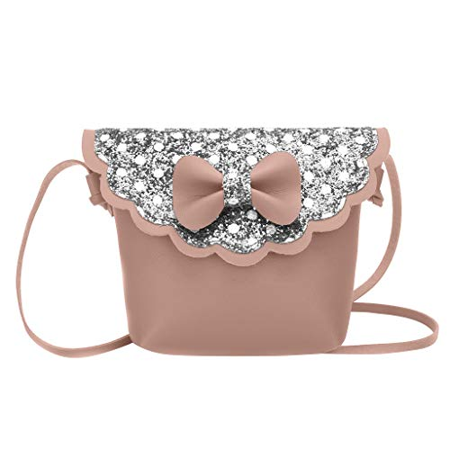 Kinder Mode Bling Bowknot Persönlichkeit kleine Tasche Umhängetasche Damen PU lässigen Kette Handtasche Modisch Schultertaschen Glitzer Beuteltasche