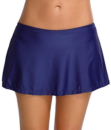 TDOLAH Damen Elegant Bikinihose Umstands Badeshorts Sport Schwimmen Rock mit Hotpants (XXL (EU 42-44), marineblau)