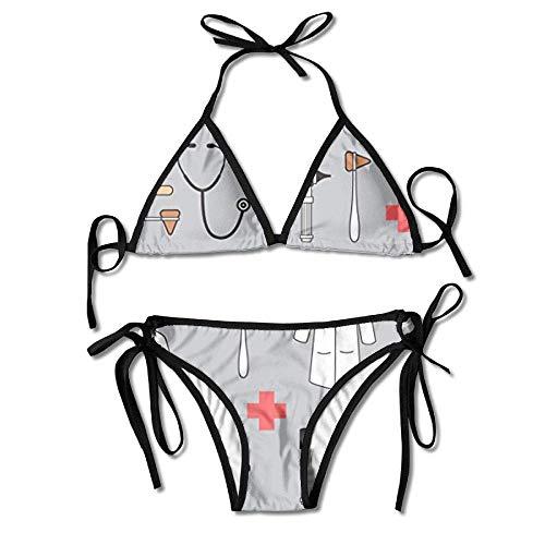 Zcfhike Women's Bikini Set Swimming Costumes for Doctor Medical Flower Print -