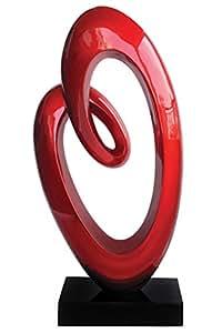 Premier Housewares Hochglänzende Swirl-Skulptur 74x36x16 cm rot