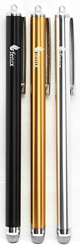 Price comparison product image Fenix - Set of 3 Black,  Silver,  Gold] [Stylus Pen with Micro Knit Hybrid Fiber Tip for iPhone 4 / 5 / 5c / 6 / 6+,  iPad / iPad Air / iPad Mini,  Samsung Galaxy S4 / S5 / S6 / Edge,  Kindle Fire,  Surface Pro and More