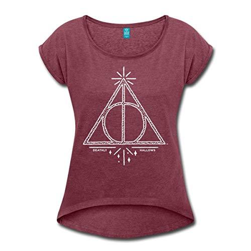 Spreadshirt Harry Potter Die Heiligtümer des Todes Logo Frauen T-Shirt mit gerollten Ärmeln, S (36), Bordeauxrot meliert