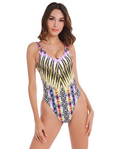 Blooming Jelly Donna Tropicale Stampa tribale Un pezzo costume da bagno costume da bagno Low (Intera Cross)