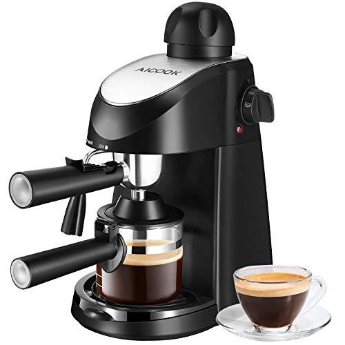 Aicook Kaffeemaschine, espresso (5 bar Dampfdruck, BPA-frei) Hause Dampf-Kaffeemaschine Halbautomat mit Milchschaum Düse für Espresso Cappuccino Latte, 1-4 Tasse [Energieklasse A+++] (Middle)