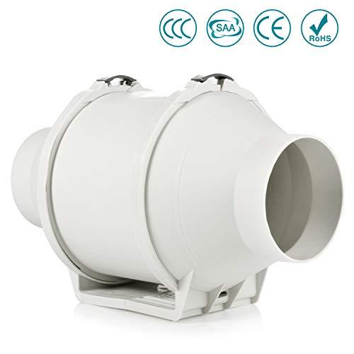 Ventola di aspirazione in linea, Hon&Guan 100mm Ventola Estrazione Ventilatore del Condotto Sistema di Ventilazione (4 inch)