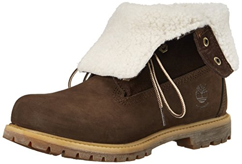 FTW Timberland Dark Damen Teddy Down Fleece WP Authentics Fold Brown Stiefel B5aqxUOw