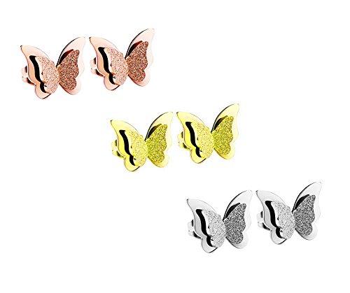 findout 3 pares de pendientes de tuerca chapados en oro rosa y titanio chapado en plata con 3 pares de pendientes muy bonitos y un buen regalo ideal para mujeres y niñas amigas (F1817)