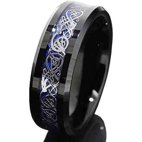 Anello in stile fede nuziale, da uomo, a fascia, 8 mm, in carbide di tungsteno nero, motivo: Drago Celtico - Mens Anello Del Drago