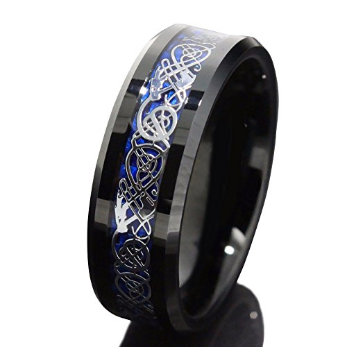 Queenwish 8mm Black Tungsten Carbide Ring Silvering Celtic Dragon Blue Carbon Fibre Wedding Band Mens Jewellery