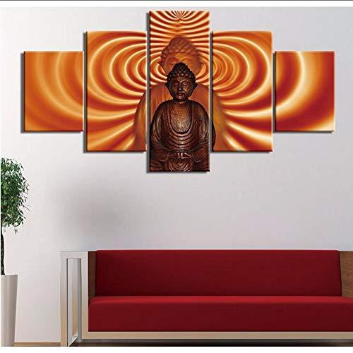 (Wuwenw Kunstwerk Poster Hd Drucke Haus Für Wohnzimmer Dekor 5 Stücke Buddha Wandkunst Religiöse Modular Rahmen Bilder Leinwand Malerei2)