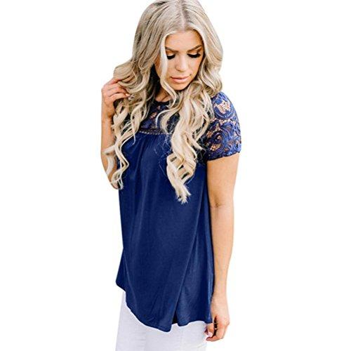 Toamen Top en dentelle à manches courtes Femmes Gilet haut Chemisier Décontractée T-shirt (XL, Bleu)