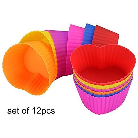 Belmalia 12 Herz Muffinförmchen aus Silikon, antihaftbeschichtet, Cupcakes, Brownies, Kuchen,