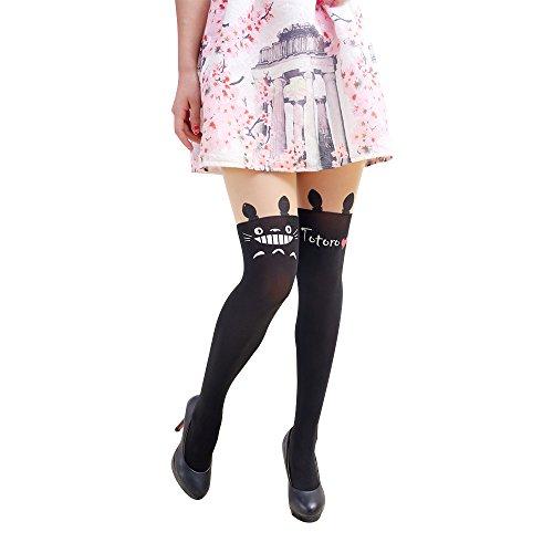Kostüm Muster Totoro - Anime Sailor Moon Luna Katze Nette Enge Printing Socken Cosplay Kostüm Strumpfhosen (Totoro)