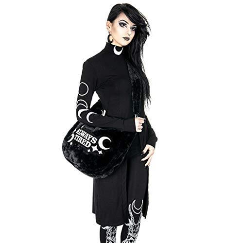 Mitlfuny Retro Rock Street Gothic Black Style Halloween Umhang Kostüme Vampir Kostüm Dracula, Frauen Schwarz Street Gothic Style Punk Moon Print Langarm Kleid mit unregelmäßigem (Baby Punk Rocker Kostüm)