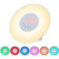 Decdeal Wake Up Lichtwecker Sonnenuntergang Simulation Funktion, 6 Farbige LED Licht, 10 Helligkeitsstufen, FM... preisvergleich bei billige-tabletten.eu