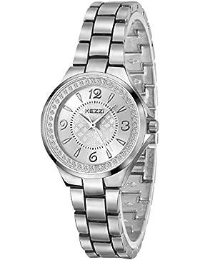 Dovoda-1299- Damen Diamant Uhren Silber Edelstahl Uhr Analog Quarzwerk Wasserdichte Armbanduhr Mode Damenuhren