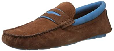 Famozi Men's Suede Leather Driving Brown and Blue Loafers and Mocassins - 11 UK