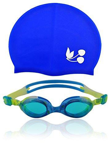 »Flippo« Kinder-Schwimmbrille + Badekappe/ 100% UV-Schutz + Antibeschlag / High-Quality-Silikon + stabile Box. Ideal für Wettkampf, Training, Wassersport und Freizeitspaß. Erhältlich in stabiler Designerbox. Brille blau-gelb AF-1700S, blau