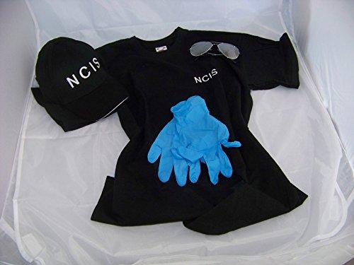 (Navy CIS Cap + NCIS T-Shirt XXL + Brille + Handschuhe , NCIS , Kostüm , Fasching , Verkleidung)