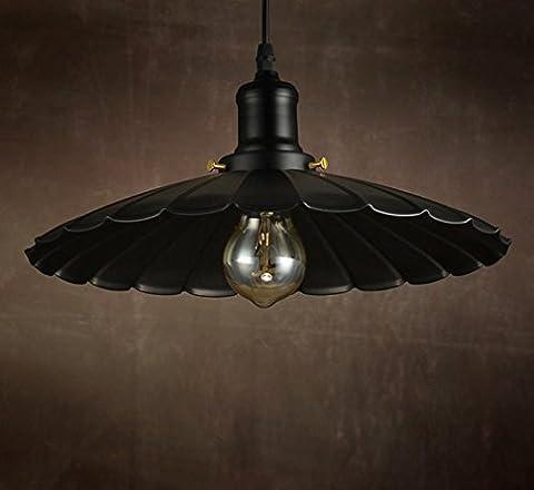 GFFORT Village américain fer forgé vintage E27 UFO éclairage créatif lustre simple parapluie, diamètre 42cm * 22cm,
