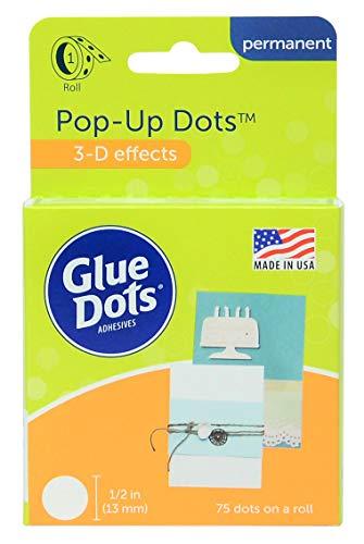 Glue Dots Doppelseitige Klebepunkte, Rolle mit 75 Pop Up Punkten, Permanent, Rund, 13 mm, Vielseitige Verwendung, DIY Basteln, Karten Gestalten und Scrapbooking -