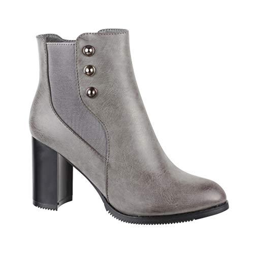Elara Damen Stiefelette   Trendige Ankle Boots   Riffelsohle   Chunkyrayan 7745 Grey-36