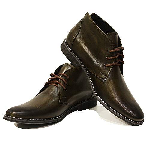 PeppeShoes Modello Fabiano - 46 - Handgemachtes Italienisch Bunte Herrenschuhe Lederschuhe Herren Grün Stiefeletten Chukka Stiefel - Rindsleder Handgemalte Leder - Schnüren