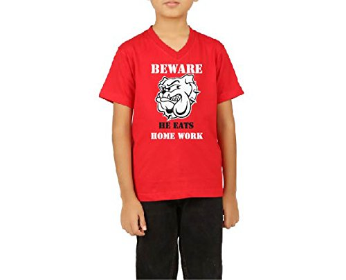 Clifton Boys Printed T-Shirt Half Sleeve V-Neck -Beware-Bright Red