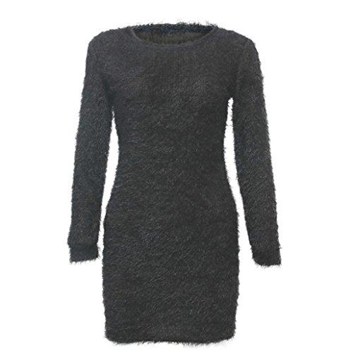 Fulltime®Les femmes hiver manches longues chandail solide molleton base courte mini robe Gris