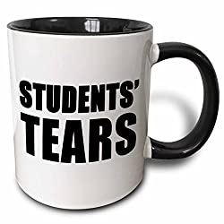3dRose Students Tears Black - Two Tone Black Mug, 11oz (mug_223854_4), 11 oz, Black/White