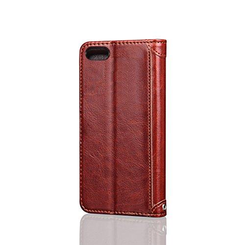 iPhone 6 / iPhone 6s 4.7 inch Handycover, LifeePro für iPhone 6 / iPhone 6s 4.7 inch Crazy Horse Pattern PU Leder Brieftasche Handycover mit Flip Stand Funktion Fotorahmen und Kartensteckplätze TPU Si Braun