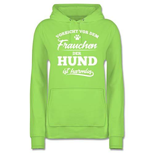 Shirtracer Hunde - Vorsicht vor dem Frauchen der Hund ist harmlos - XS - Limonengrün - JH001F - Damen Hoodie -