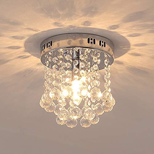 Unimall Modern Kristall Kronleuchter Glas Deckenleuchte klein Rund für Flur Diele Schlafzimmer