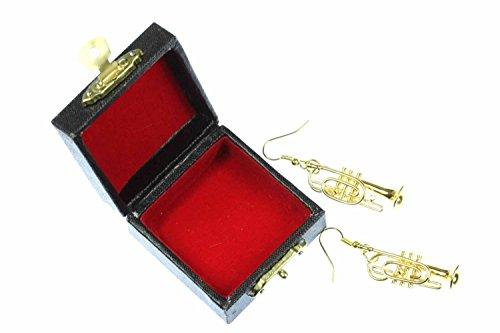 Kornett Trompetenohrringe Ohrringe Trompete Miniblings Blasmusik vergoldet + Box