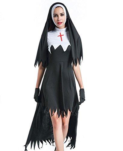 Ägyptische Halloween (Halloween Cosplay Kostüm Frauen Ägyptische Königin Kleopatra Nun Mönch Priester Mönch Robe Missionary Christian Kirche Kostüm)