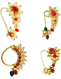 219983003f33 Meenaz Traditional Jewellery Gold Plated Maharashtrian Wedding Combo Nose  pin Nath Nose Ring for women