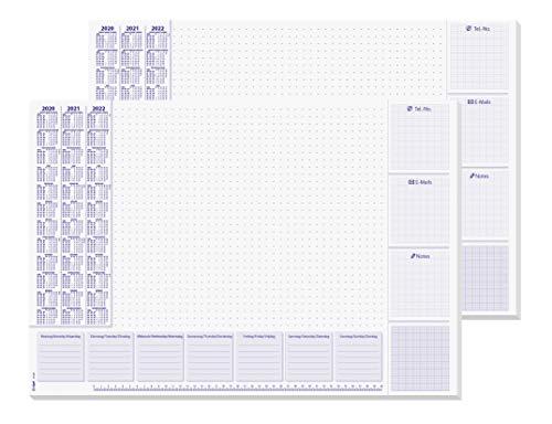 SIGEL HO355/2 Papier-Schreibunterlage, ca. DIN A2 - extra groß, mit 3-Jahres-Kalender und Wochenplan 2020 - 2022, 30 Blatt, 2er Pack