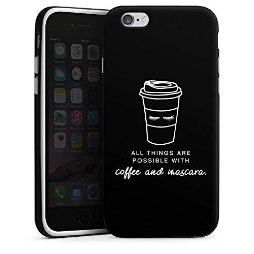 Apple iPhone X Silikon Hülle Case Schutzhülle Mascara Kaffee Spruch Silikon Case schwarz / weiß