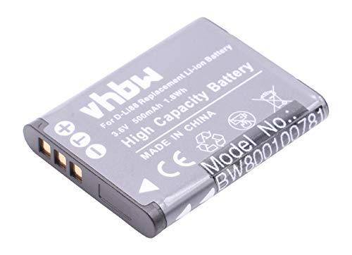 vhbw Li-Ion Akku 500mAh (3.6V) für Kamera, Video, Camcorder Pentax Optio, Sanyo Xacti, Toshiba Camileo wie Pentax D-Li88, Sanyo DB-L80.