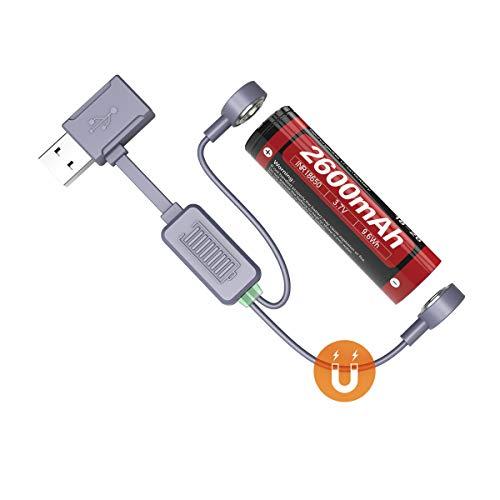 Weltool USB Magnet-Ladeadapter Akku-Ladegerät Universal für Li-Ionen-Akku Batterien Ladegerät für Reisen, kompatibel mit 26650 21700 20700 18650 18350 16340 Akku Laden Entladung Aktivierung