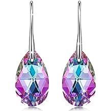 """❤Regalos para Mamá❤ NINASUN """"Mundo Maravilloso"""" Plata de Ley 925 Fabricados con Cristales Swarovski [Vitrail Light], Pendientes Mujer, Libre de Alérgenos"""