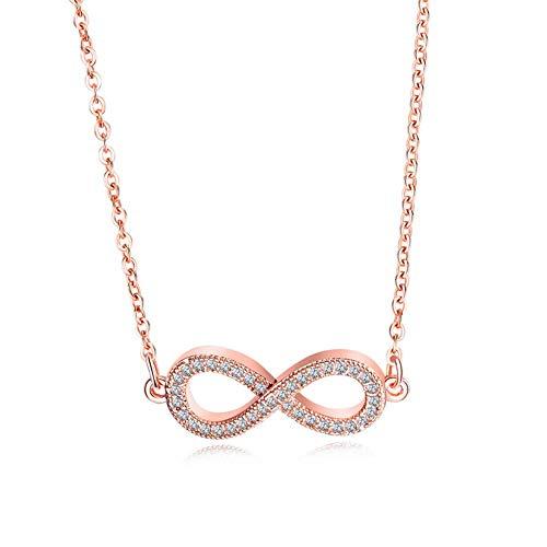 L&H Damen Rose Gold Infinity 8 Wort Anhänger Kupfer Inlay Zirkon Halskette Schlüsselbein Kette Persönlichkeit Schmuck (Infinity-halskette Rose Gold)