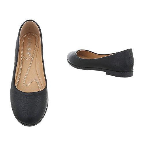 Ital-Design Scarpe da Donna Ballerine Tacco a Blocco Ballerine Classiche nero 6181