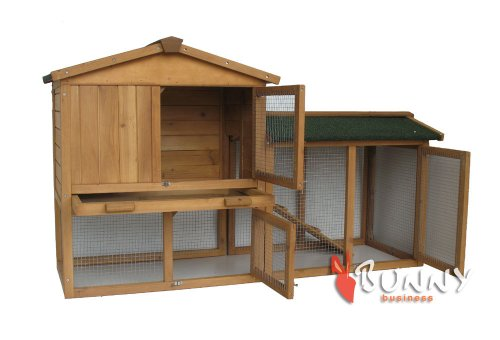 BUNNY BUSINESS The Grove Double Decker Rabbit/ Guinea Pig Hutch and Run, Brown 3
