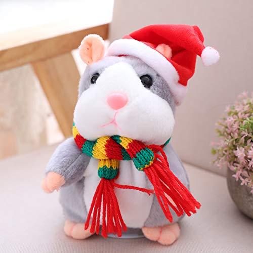 Decdeal Elektrisches Talking Hamster, Intelligent Kleiner Hamster, Sprechender Record Wiederholen aus Plüsch Tiere Kinder Puppe grau
