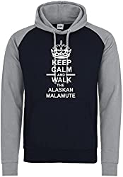 Keep Calm And Walk The Alaskan Malamute Dog Baseball Hoody In Navy Blue & Heather Grey With White Text