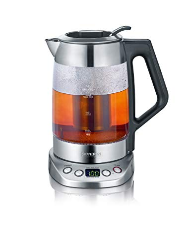 SEVERIN Glas-Tee-/Wasserkocher Deluxe, Mit Temperaturregler, Für 1,7 L Wasser/1,5 L Tee, ca. 3.000 W, WK 3479, Edelstahl/Schwarz