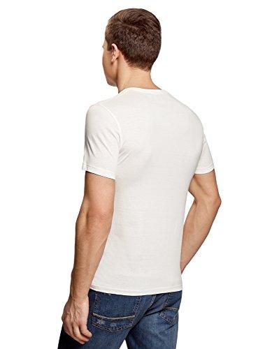 oodji Ultra Herren Bedrucktes Baumwoll-T-Shirt Weiß (1229P)