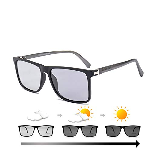 WBAHJ Men Photochromic Sonnenbrillen Polarized Light Square Frame Übergangsgläser Driving Sun Glasses